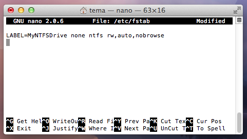 editing the fstab file to enable ntfs writing on Mac OS X