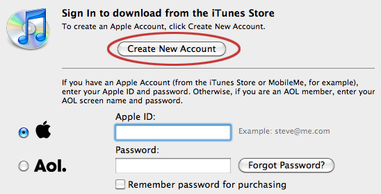 Create a new iTunes account