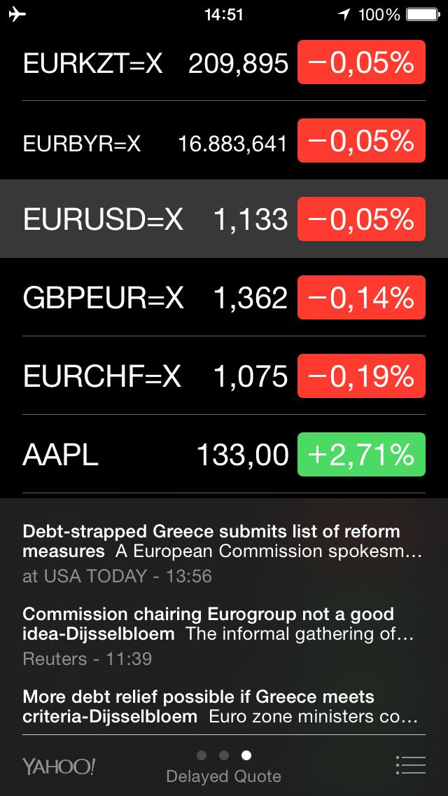 новости в приложении stocks на iPhone