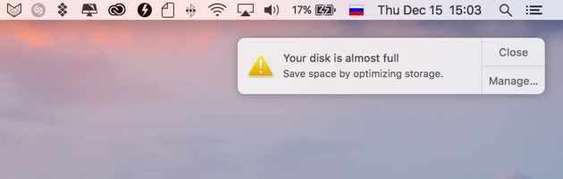 disk is full warning Mac