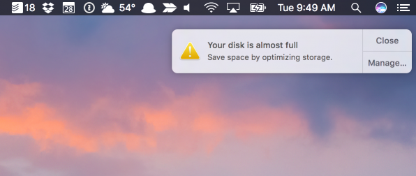 """ошибка: """"Your disk is almost full"""