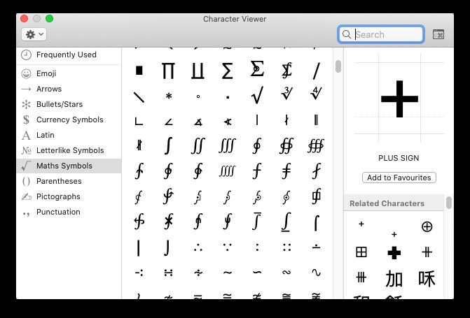 Character viewer на Mac